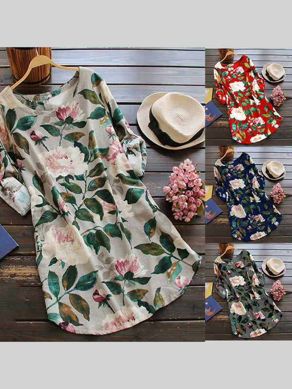 Floral Crew Neck Casual Dress
