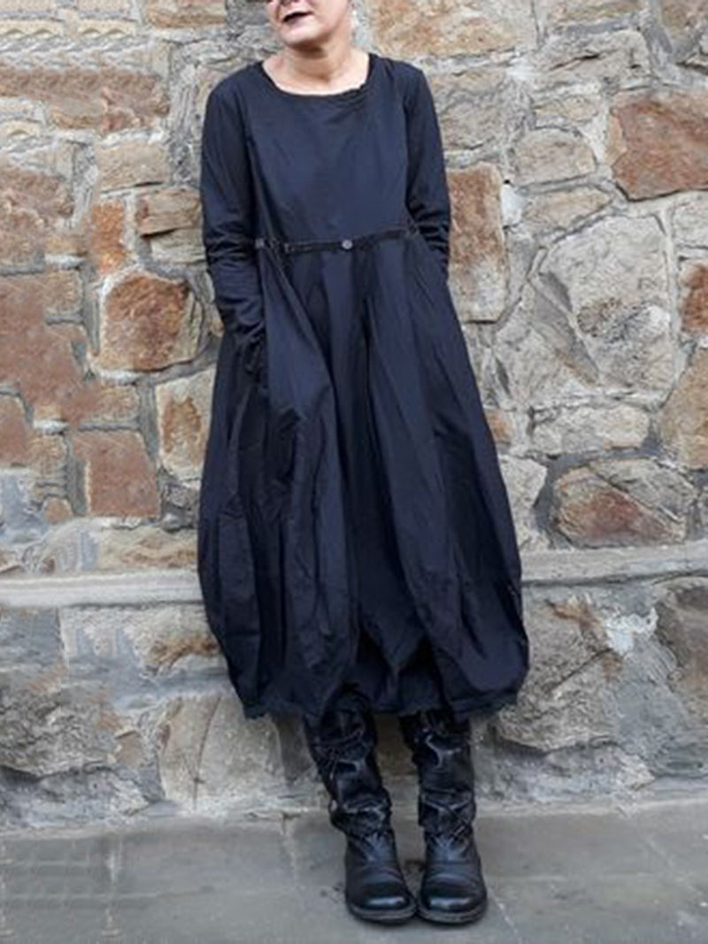 Black Long Sleeve Crew Neck Dresses