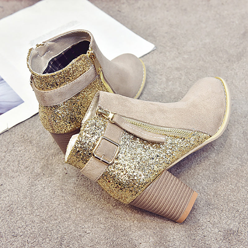 Women Flocking Booties Casual Zipper Plus Size Shoes