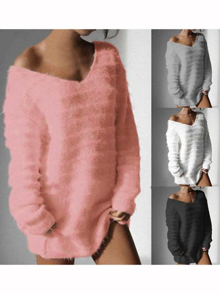 Women Fuzzy Sweaters Solid Cashmere Fleece