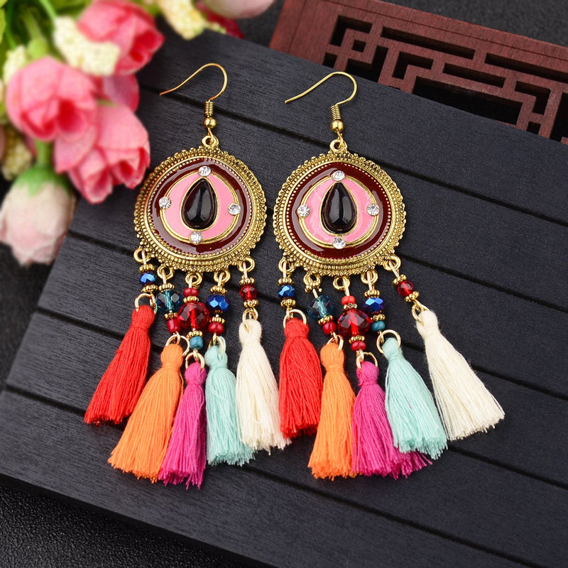 Bohemian hippie music festival exaggerated color rice beads tassel earrings pendant
