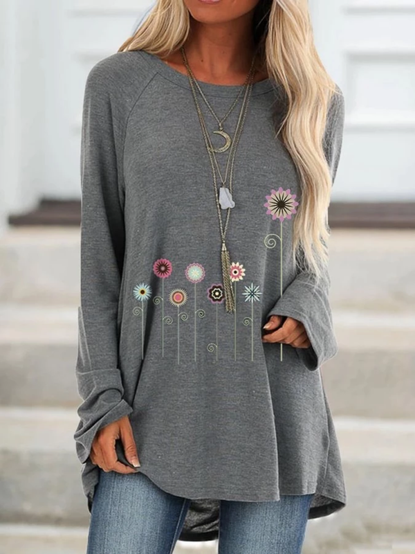 Woman Plus Size Casual Floral Crew Neck Long Sleeve Shirts & Tops