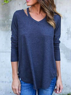 Blue V Neck Casual Shirts & Tops