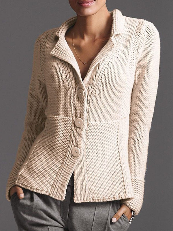 Beige V neck Cotton-Blend Casual Sweater