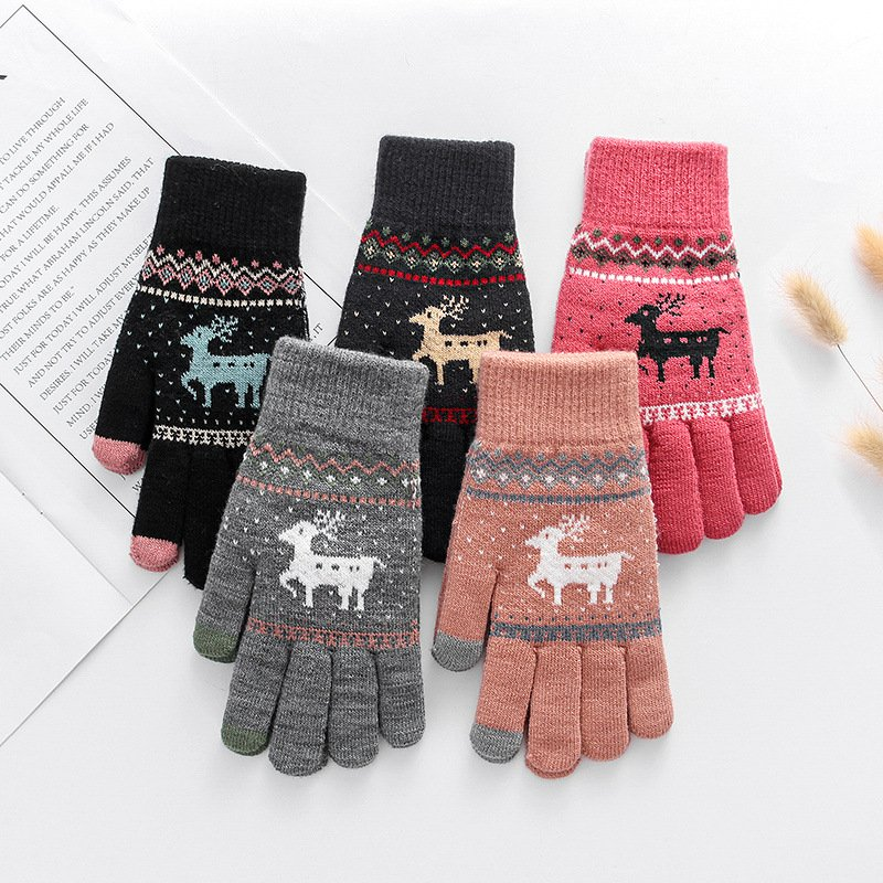 Thick Warm Wool Knit Christmas Deer Gloves