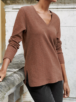 Coffee V Neck Casual Long Sleeve Plus Size Sweatshirts