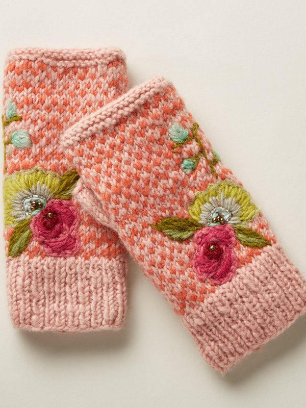 Casual Knit Floral Gloves Handwarmers