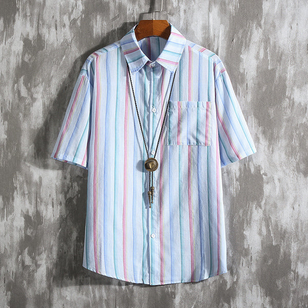 Large Size Men's Casual Vertical Striped Shirts Short-sleeved Loose Shirts