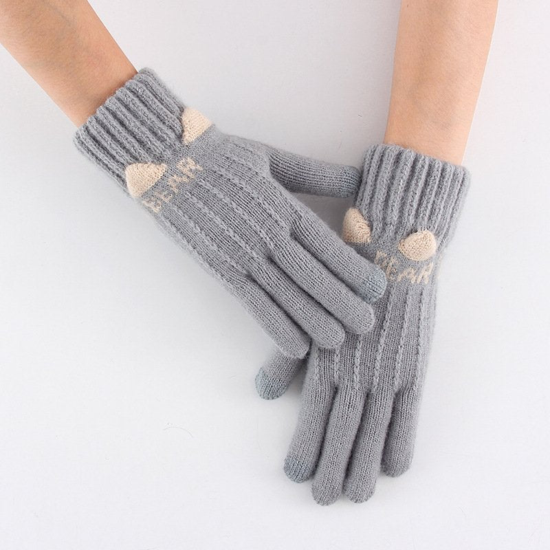Touch Screen Gloves Knitted Five Fingers Thick Warm Gloves