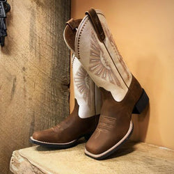 White-Brown Low Heel Pu Outdoor Color Block Winter Boots