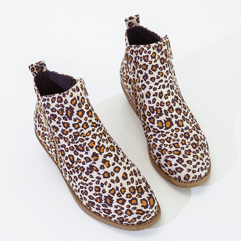 Women Ankle Boots Casual Chic Zipper Boots Artificial Leather Leopard Booties
