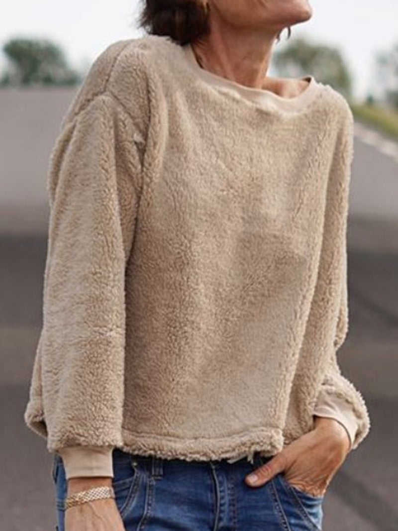 Beige Plain Casual Crew Neck Cotton-Blend Sweater