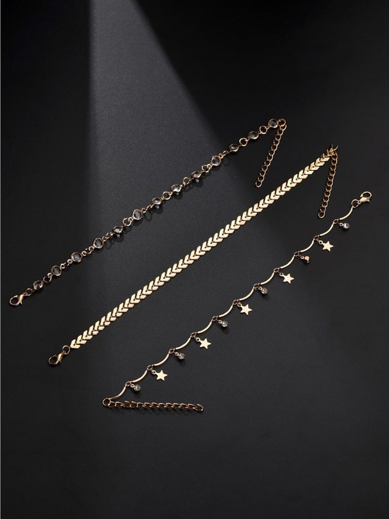 Womens Multi-layer Alloy Chains Anklet