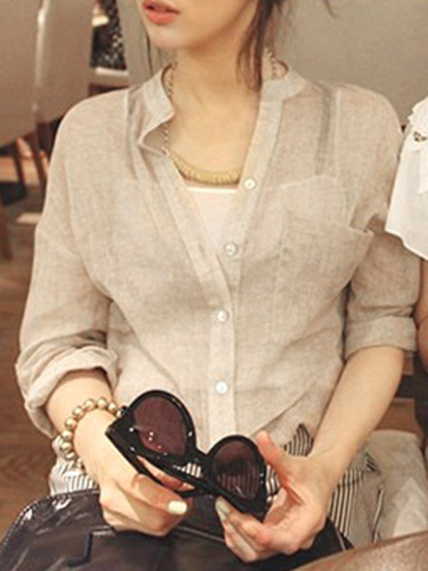Buttoned Long Sleeve Stand Collar Casual Linen Blouse