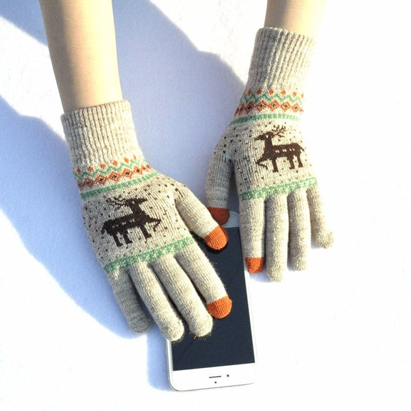 Touch Screen Gloves Elk Christmas Jacquard Warm Thick Knited Gloves
