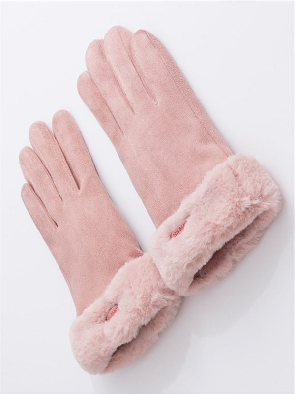 Casual Autumn Winter Faux Fur Gloves
