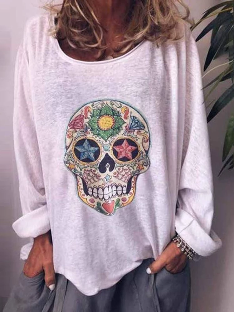 White Crew Neck Long Sleeve Shirts & Tops