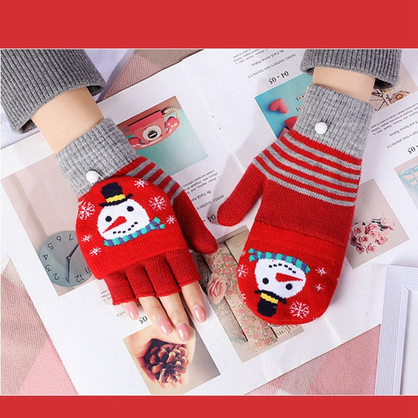 Fingerless Warm Flip Christmas Knit Gloves