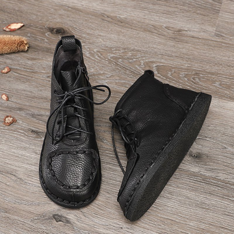 Pu Daily Lace-Up Boots