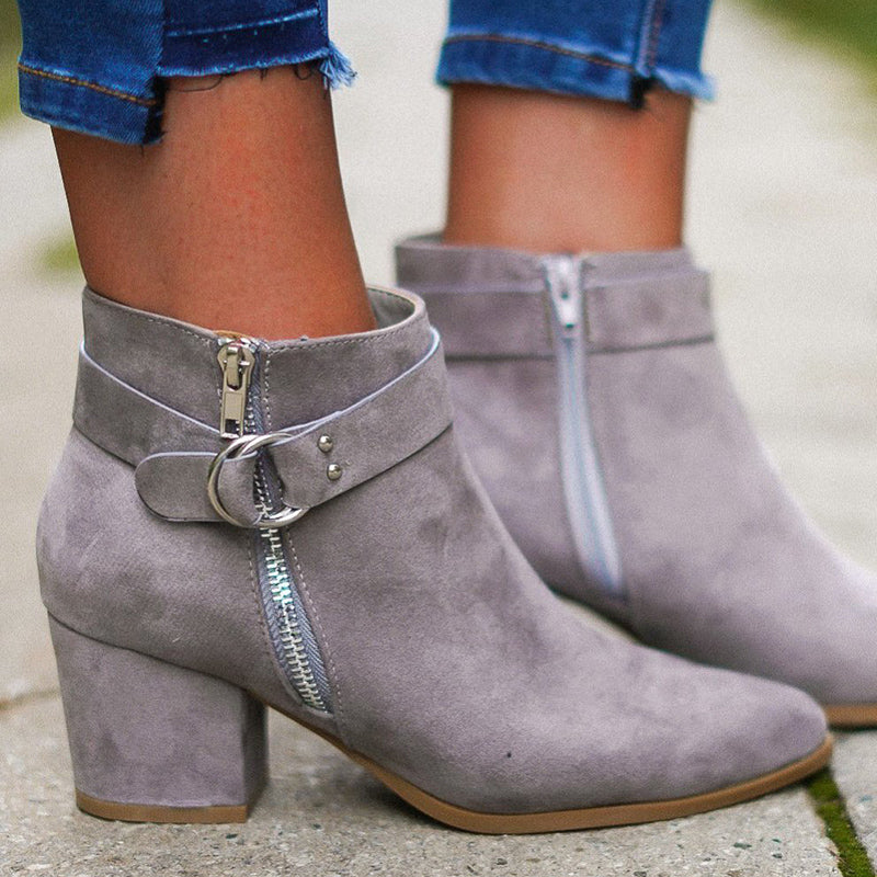 Plus Size Suede Buckle Zipper Chunky Heel Ankle Booties