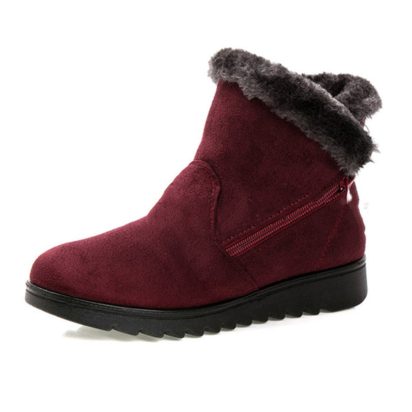 Noracora Women Winter Shoes Warm Snow Zipper Ankle Boots Vintage Suede Booties