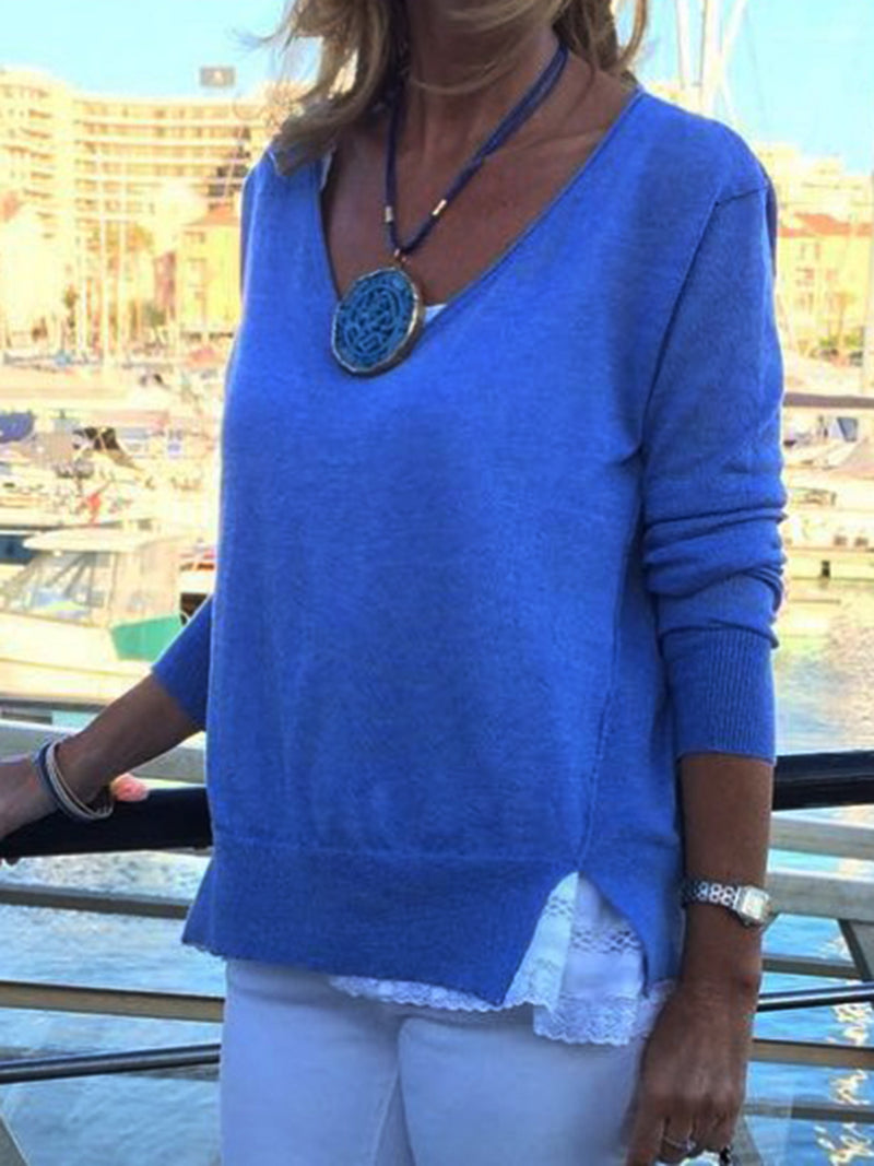 Blue Plain Casual Long Sleeve Cotton-Blend Shirts & Tops