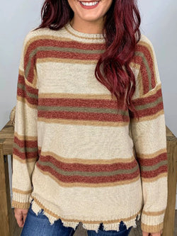 Red Crew Neck Cotton-Blend Stripes Casual Sweater
