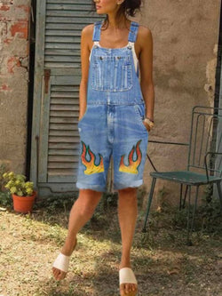 Blue Denim Casual One-Pieces
