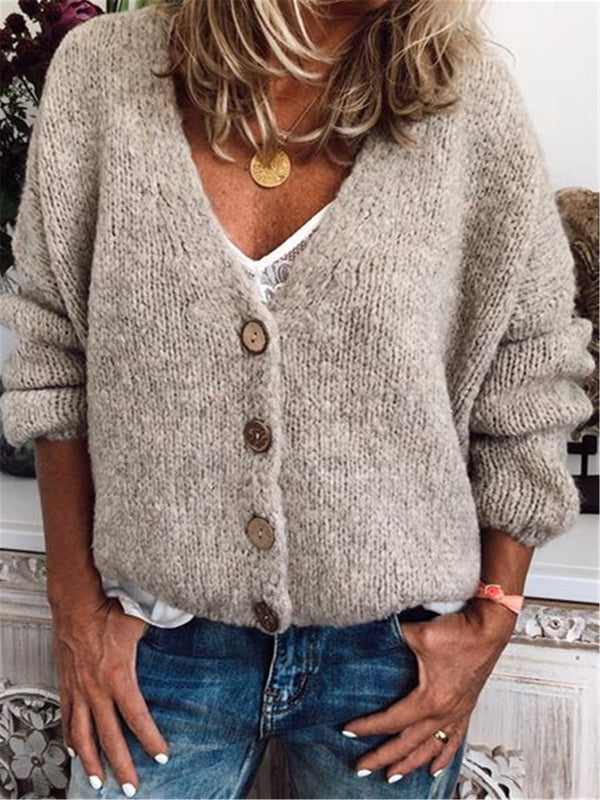 Casual Cotton-Blend V Neck Cardigan-Outerwear