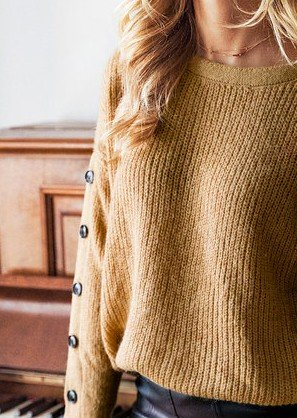 Brown Crew Neck Casual Sweater