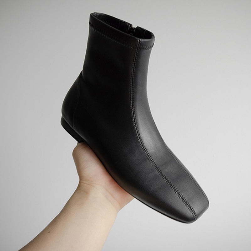 Zipper Winter Low Heel Leather Boots