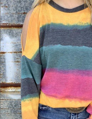 Multicolor Stripes Cotton-Blend Crew Neck Long Sleeve Shirts & Tops