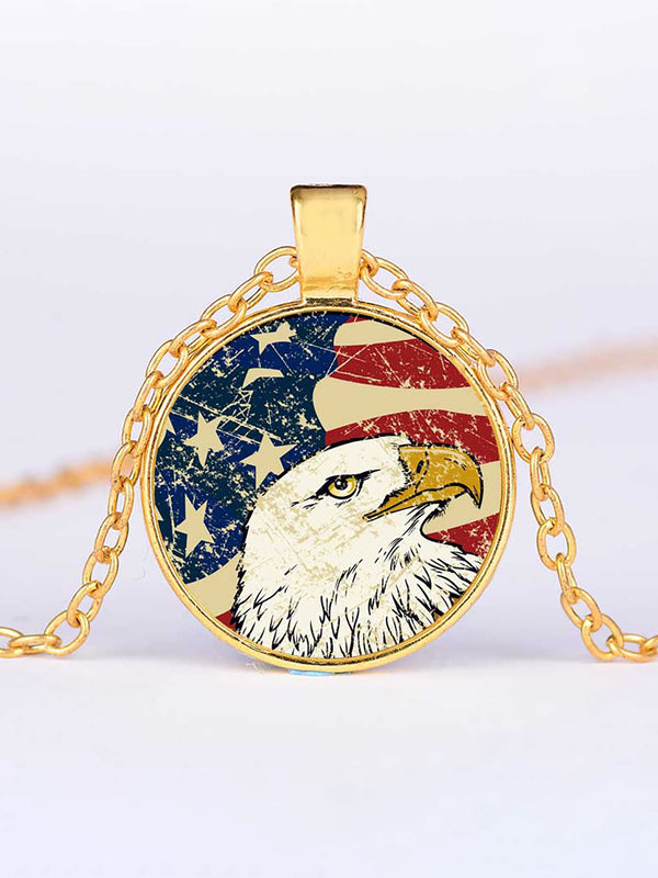 America Vintage Alloy Round Sweater Necklaces