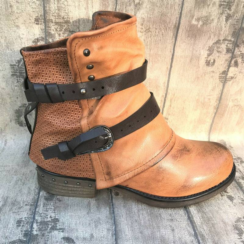 Plus Size Women Vintage Comfortable Short Boot with Buckle