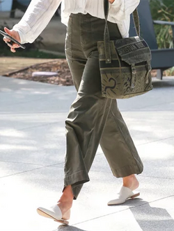Army Green Casual Paneled Pants
