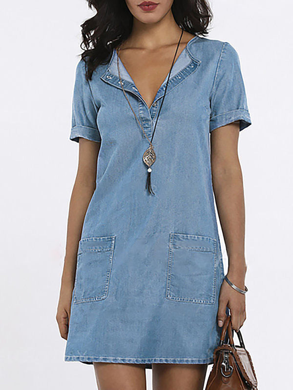 Shift Basic Denim Pockets Midi Dress