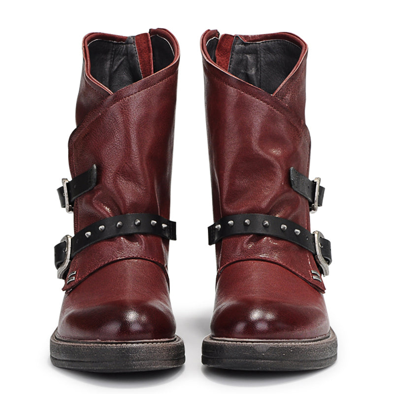 Winter Low Heel Rivet Boots