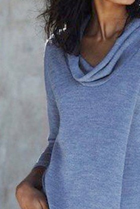 Blue Cotton-Blend Cowl Neck Long Sleeve Plain Shirts & Tops