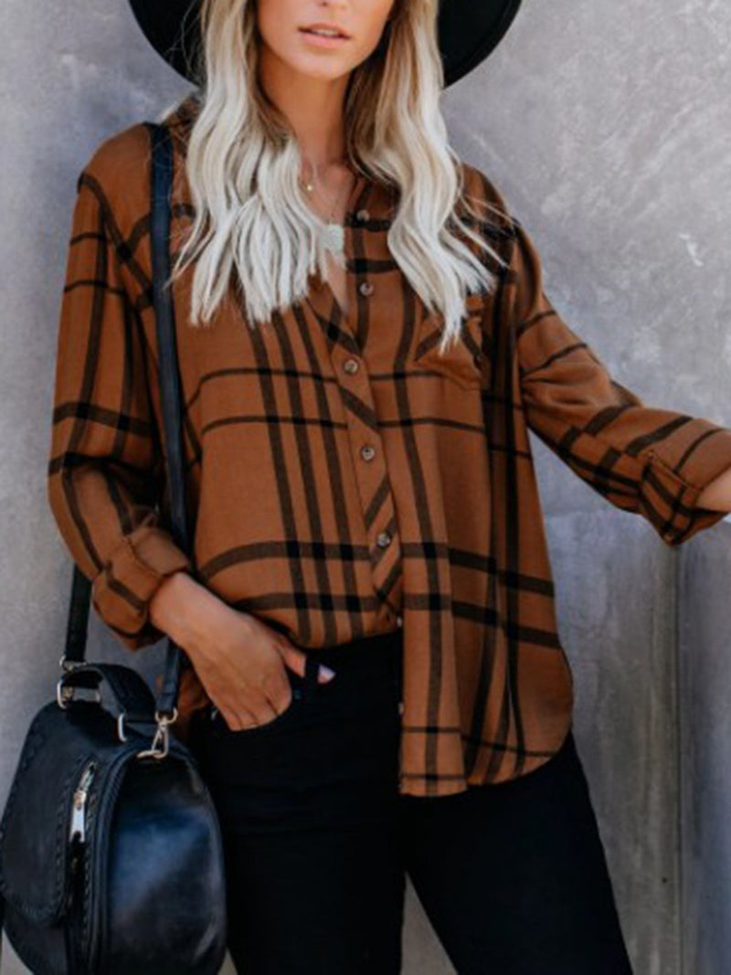 Brown Casual Long Sleeve V Neck Shirts & Tops