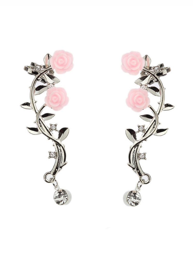 Womens Elegant Rose Flowers Silver Gold Color Piercing Clip Earrings
