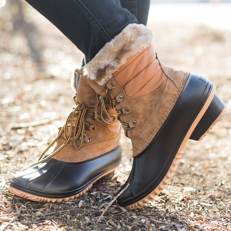 Women Winter Leather Low Heel Comfy Lace Up Duck Boots
