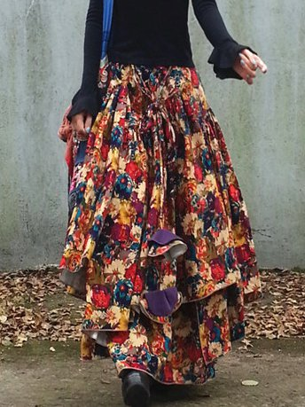 Yellow Floral Casual Cotton-Blend Skirts