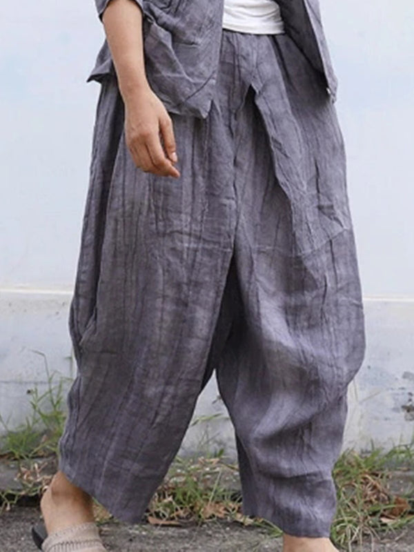 Plain Linen Casual Pants