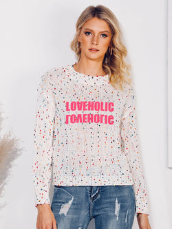 White Letter Printed Casual Crew Neck Sweater