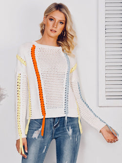Abstract Cable Long Sleeve Casual Sweater