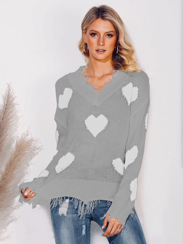 Long Sleeve Graphic V Neck Sweater