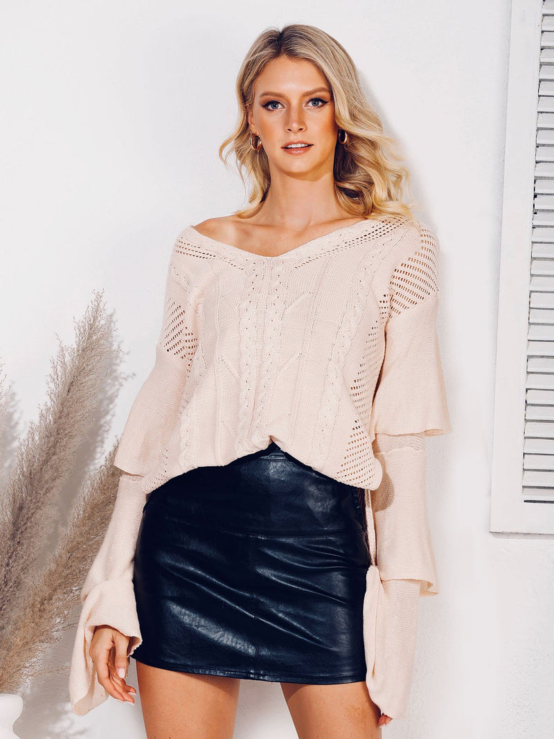 Tiered Shift V Neck Casual Sweater