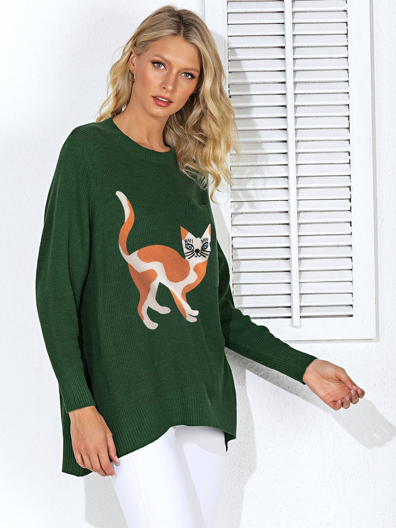 Casual Animal Long Sleeve Crew Neck Sweater