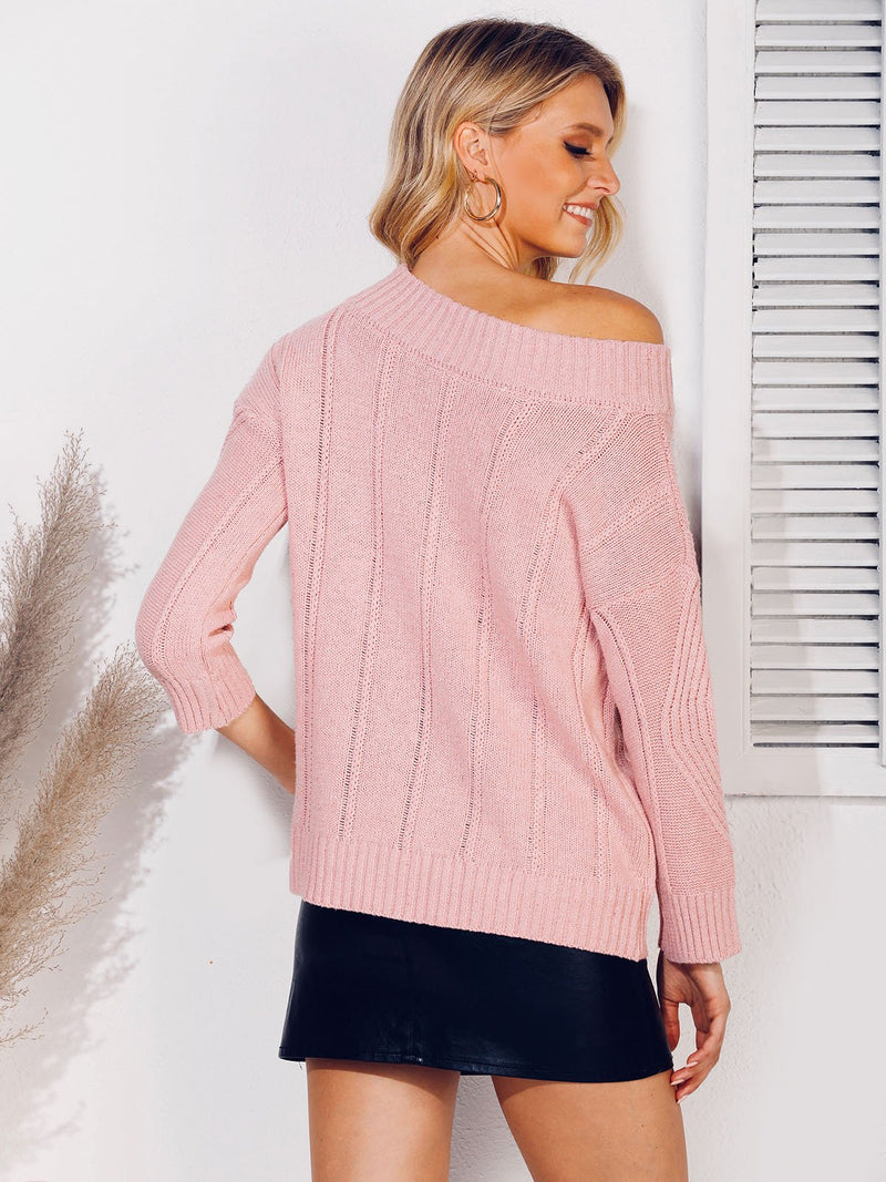 One Shoulder Casual Solid Cable Sweater