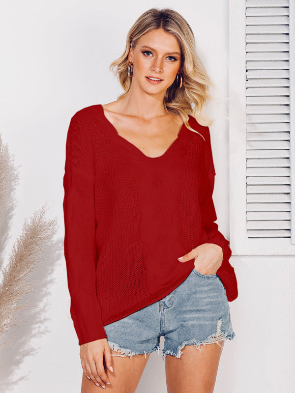 Solid Casual Knitted Sweater